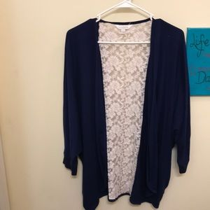 Navy cardigan with lace